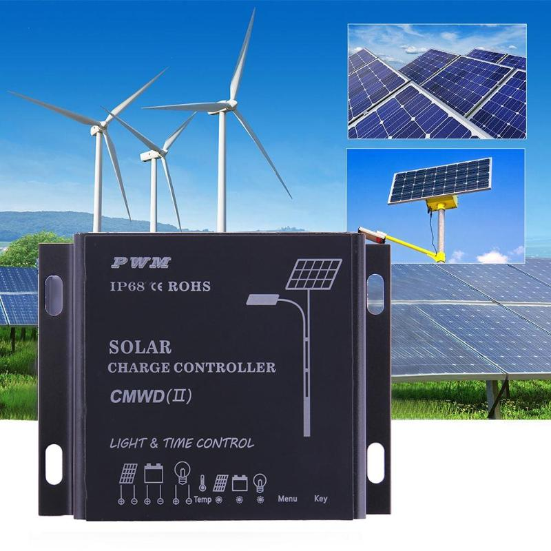 Waterproof IP68 LED 10A/20A PWM Solar Panel Charge Regulator Controller 12-24V Auto Switch Timer with Auto,Manua,Debug Mode 15