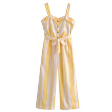 68b1dee45e1 ANSFX Causal Yellow White Striped Spaghetti Strap Jumpsuit Belt With Sashes  Full Length Pants Loose Romper Overalls Summer Women