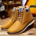 Мужчины Зимние Сапоги Теплые Кожаные Синий Армейские Ботинки Мода Водонепроницаемые Ботильоны Плюшевые Резиновые Желтые Ботинки Круглый Носок