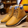 Men Winter Boots Warm Leather Blue Army Boots Fashion Waterproof Ankle Boots Plush Rubber Yellow Shoes Round Toe