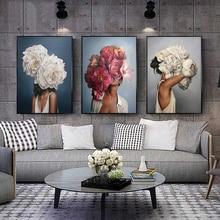 Flores plumas mujer lienzo abstracto pintura impresiones artísticas para colgar en pared cuadro decorativo Pintura Sala decoración del hogar