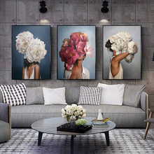 Flowers Feathers Woman Abstract Canvas Painting Wall Art Print Poster Picture Decorative Painting Living Room Home Decoration(China)