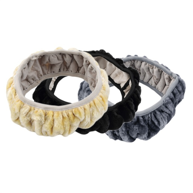 3 pcs/set Warm Long Wool Plush Car Steering Wheel Cover