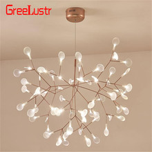 Firefly Tree Branch Modern led Chandelier Acrylic Leaf Chandeliers Ceiling lamp for Bedroom Art Decorative hanging light fixture