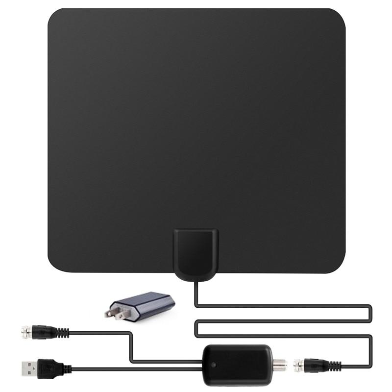 SOONHUA 1080 P Antena Numérique Version HDTV Antenne 50 Miles Gamme intérieur Plat HD TV Antenne + Adaptateur + Amplificateur 3 Pcs Ensemble NOUS Plug