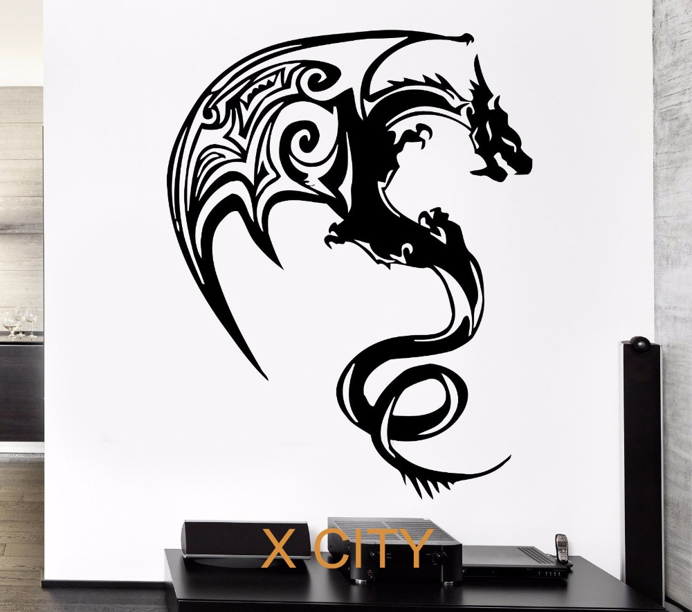 Western Dragon Monster Cool Children Bedroom Wall Art Decal Sticker Removable Vinyl Transfer Stencil Mural Home Decor