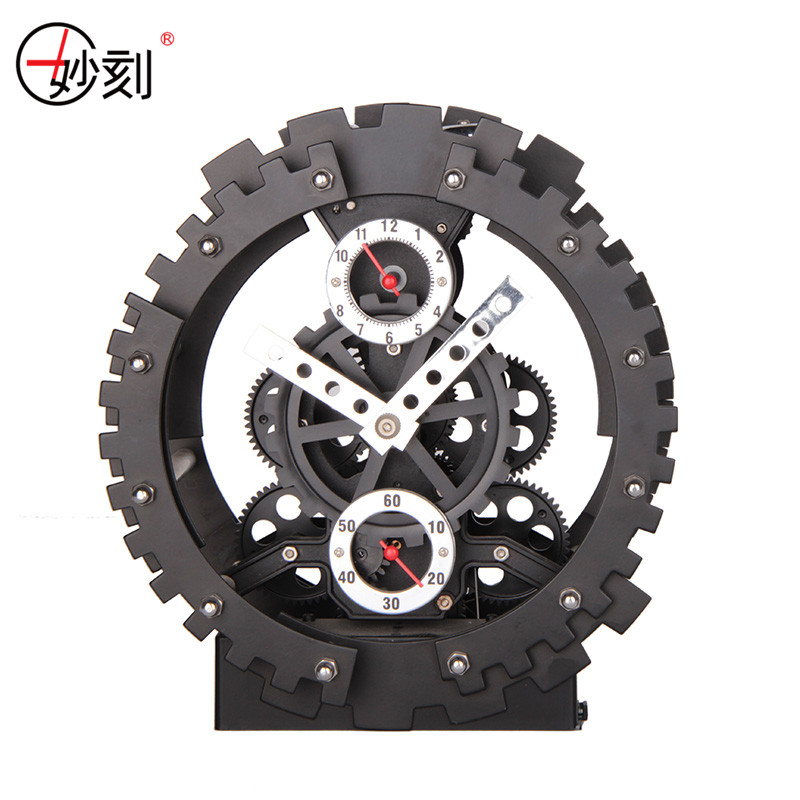 Table Clock Creative Fashion Big Mechanical Gear Clock ABS Material Desk Clock Home Decor Black Silver Gear Clock