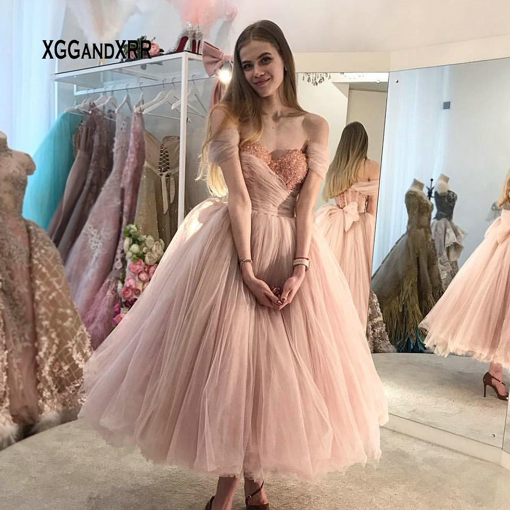 Luxury Pink Tea Length Puffy   Prom     Dress   2019 Sweetheart Beading Crystal Backless Formal Party Gown Plus Size Elegant
