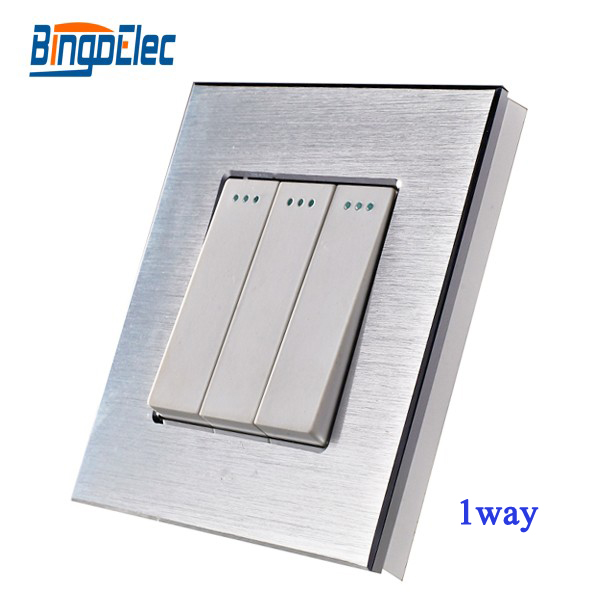 EU/UK 3gang 1way pull switch with indicator light,aluminum panel swicth,AC110-250V,Hot sale