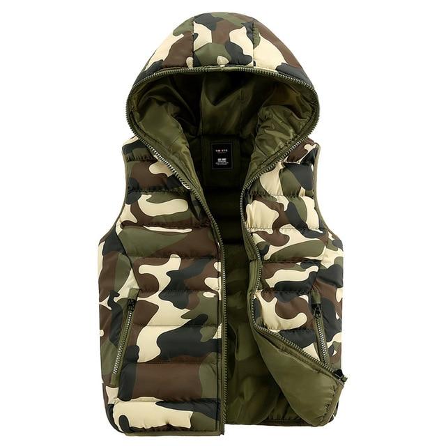 2016 Camo Padded Vest Hooded Plus Velvet Winter Casual Military Winter Vest Men Duck Zipper Jacket Warm Outerwear Tops