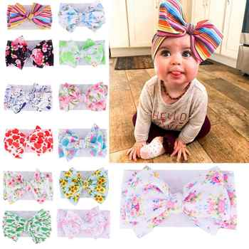 2019 Large 7inch Floral Print Bows Girls Headband Oversized Bowknot Headwrap Kids Cotton Adjustable Turban Headbands 24pc/lot - DISCOUNT ITEM  10% OFF All Category