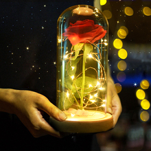 Beauty and Beast Battery Powered Red Rose Flower String Light Desk LED Lamp Romantic Valentine's Day Birthday Gift Decoration