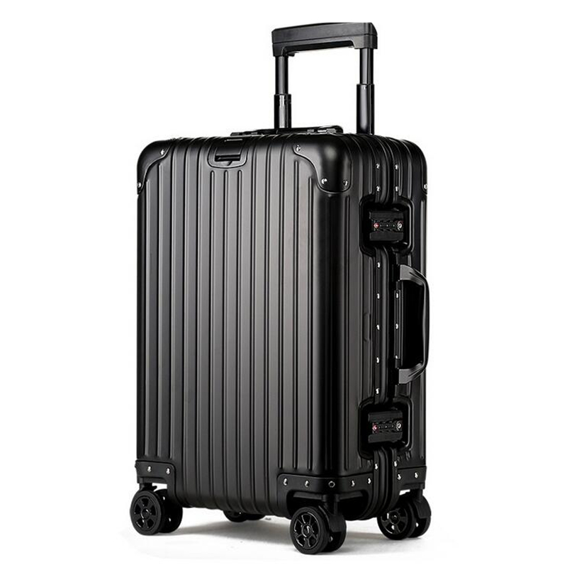цена на 20 24100% All Aluminum Magnesium Luggage Hardside Rolling Trolley Luggage Travel Suitcase 20 Carry on Luggage