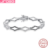 Jrose18CM Toggle clasps Solid 925 Sterling Silver ankle Bracelet Pave Setting 12.5CT White CZ 156pcs Black SpinelGift with Box