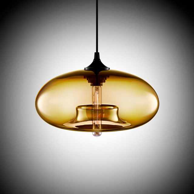 Nordic Modern hanging loft 7 Color Glass lustre Pendant Lamp industrial decor Lights Fixtures E27/E26 for Kitchen Restaurant 6