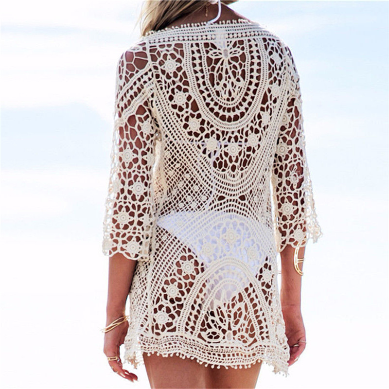 Beach Tunic Swimwear Pareo loose Dress Lace Crochet Swimsuit Cover Up Sarong Beachwear Women Bikini Cover-Up 4