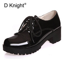 Patent Leather Women Oxfords Fashion Lace-up Round Toe Flats Shoes Woman Creppers Plus Size 34-43 Oxford Shoes For Women Black цены онлайн