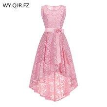 OML525F # avant court et long dos rose Bow robes de soirée camarade de classe robe de bal en gros pas cher mode vêtements fille