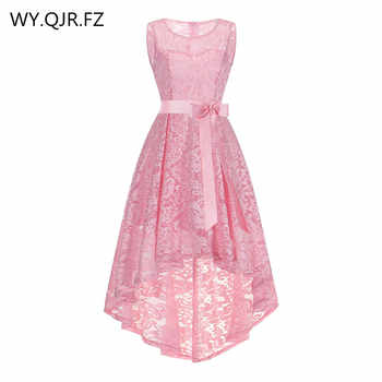 OML525F#front short and long back Pink Bow Evening Dresses Classmate party dress prom gown wholesale cheap fashion clothing girl - DISCOUNT ITEM  10% OFF All Category