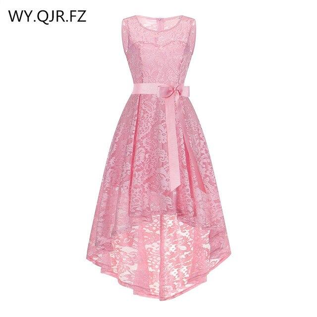 OML525F # спереди короткие и длинные сзади розовый бант вечерние платья одновечерние классник партии платье на выпускной вечер оптовая продажа дешевые модная одежда для девоч