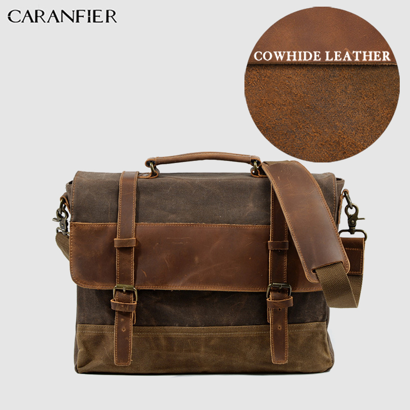 CARANFIER Mens Briefcase Business Oil Wax Cow Leather Canvas Unisex Messenger Bag Large Capacity Laptop Shoulder Handbags 2019