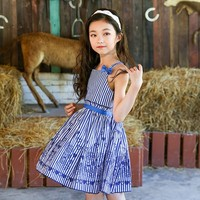 Cotton Teen Girls Clothing Baby Girls Sundress With Bow Summer 2018 Pink Blue Striped Big Girl
