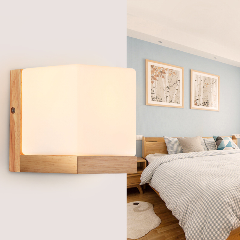 Creative led bedroom bedside lamp balcony aisle wall lamp wood simple wall lamp modern living room study room glass wall lamp european style simple modern art small round wall lamp living room bedroom aisle study room sconce wall lights led aluminium