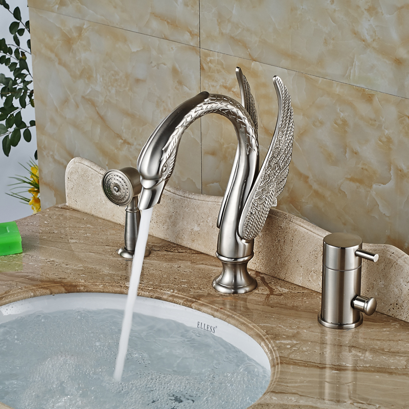 swan style 3 pcs widespread bathtub faucet single handle 3 hole brushed nickel tub mixer taps
