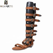 Prova Perfetto Punk Style Women Gladiator Sandals Open Toe Metal Ring Buckle Belt Summer Boots Female Flat Rivet Shoes High Boot