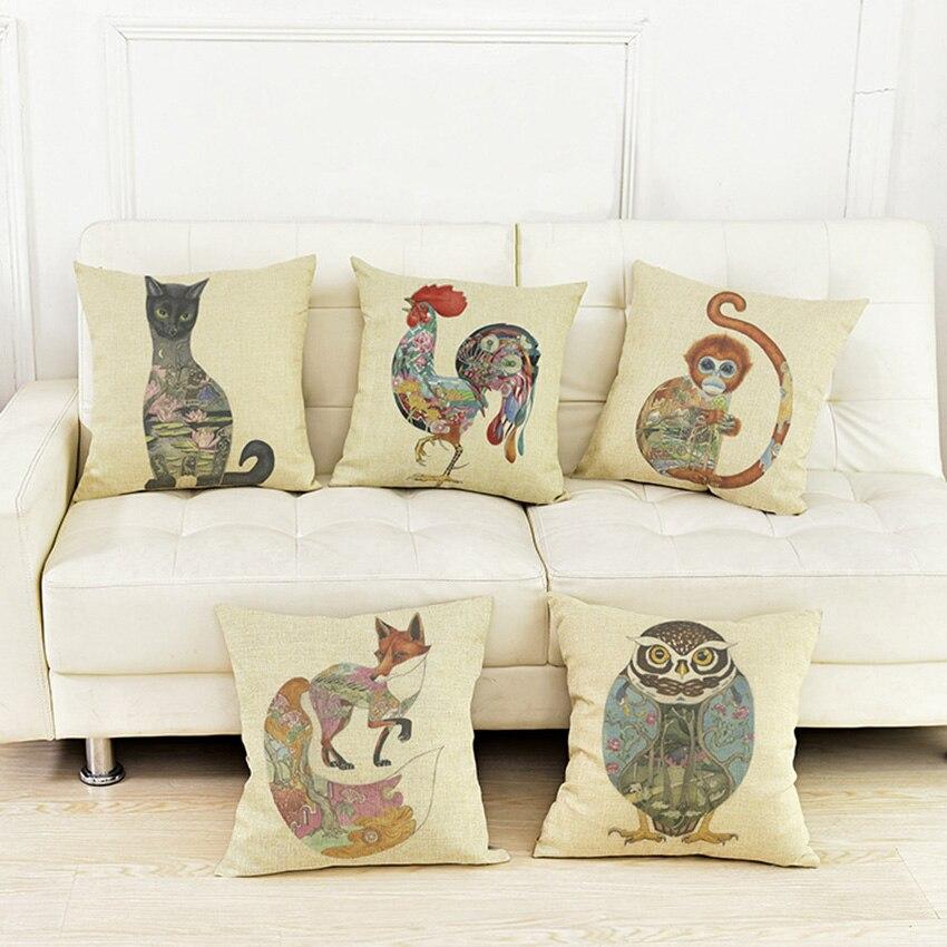 modelos courful animales mano pintura banco sof cojines zorro mono bho tigre len conejo gato perro cojines decorativos