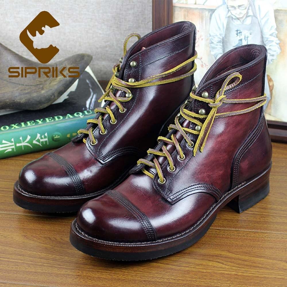 best cheap 015bb 0c23b 9007 Negro Redonda Aowboy A Sipriks Lujo Botas Calzado Zapatos Gran  Italiano Marca Para De Hombre Retro Goodyear Tamaño ...