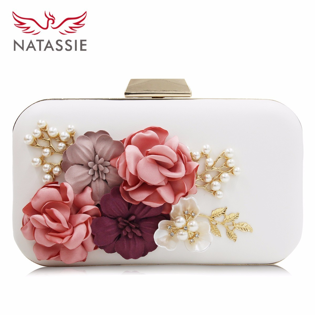 Natassie Brand Women Flower Wedding Party Clutch Purse Ladies Evening Bag Royal Blue Day Clutches With Pearl Chain natassie women clutch bags full crystal evening bag blue party purse ladies wedding handbag with long chain