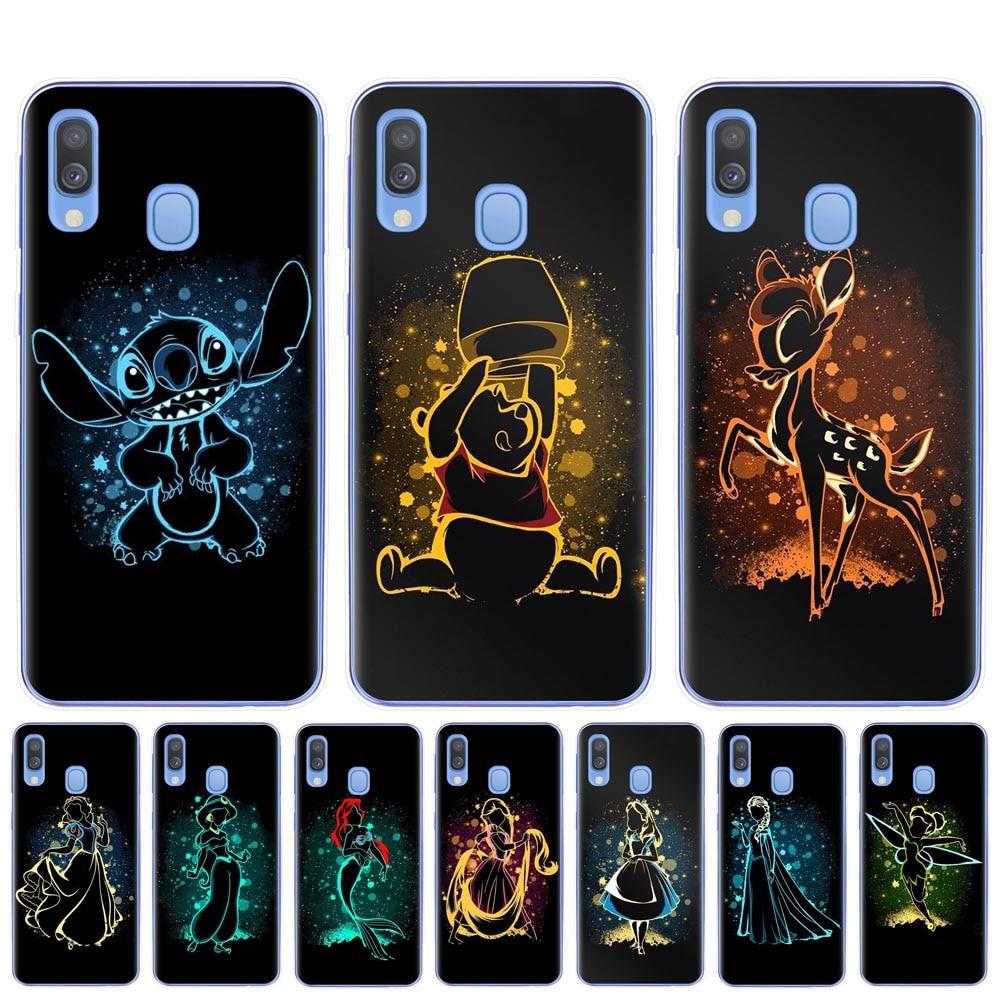 Cute Snow White Alice Little Mermaid Stitch Bambi Case For Samsung A7 A9 A6 A8 Plus 2018 A10 A20 A30 A40 A50 A70 TPU Phone Cover