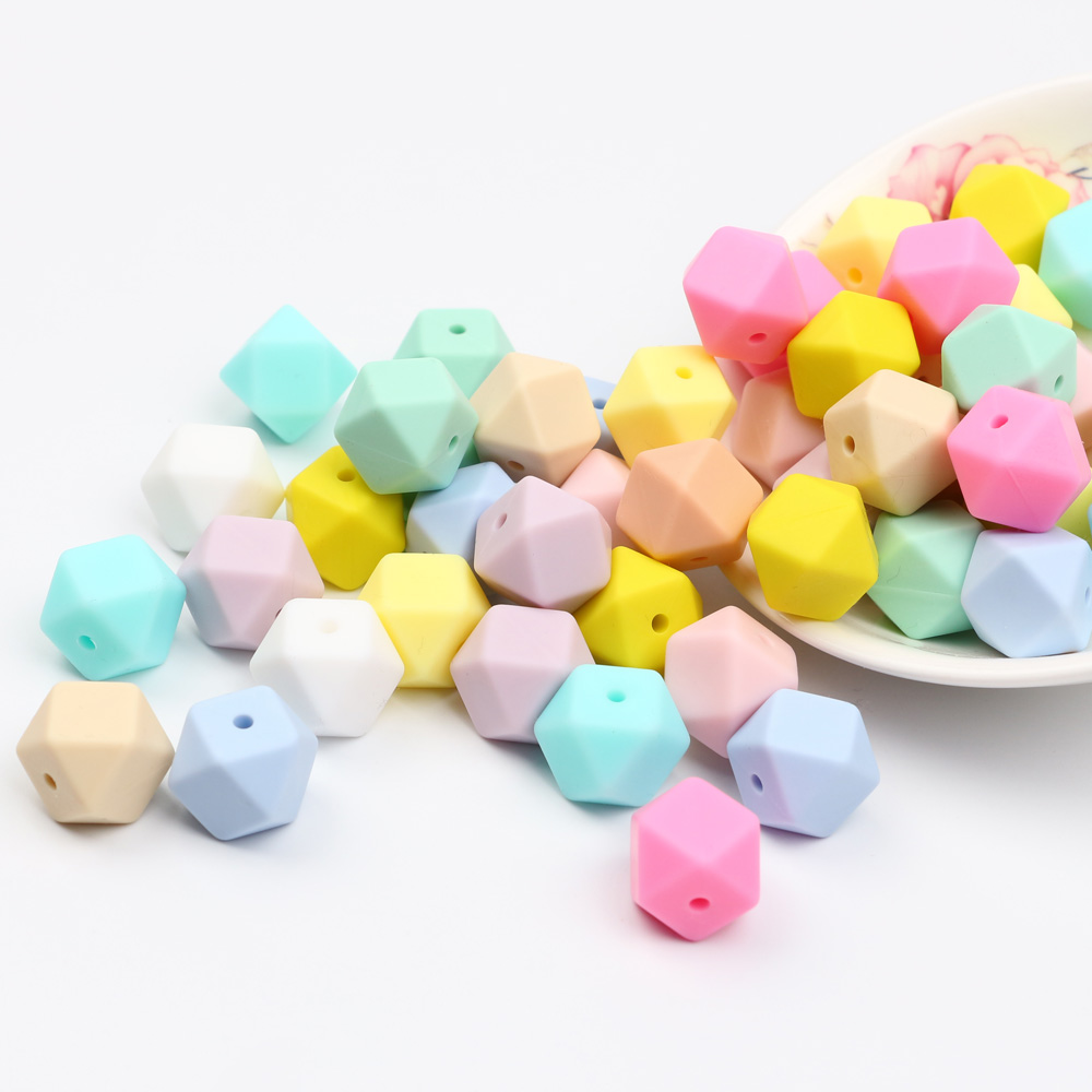 TYRY.HU 10Pcs Beads Silicone Beads Teething 14mm Baby Teether Baby Tool Care Necklace Pacifier Chain DIY Toy BPA Free