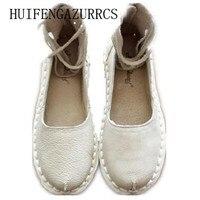 HUIFENGAZURRCS-original características de personalidade sapatos feitos à mão Simpson bandagem realmente arte RETRO com sandálias flat de couro cheia mori