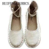 HUIFENGAZURRCS-originele persoonlijkheid kenmerken handgemaakte schoenen Simpson bandage echt volledige lederen RETRO art met platte sandalen mori