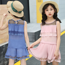 kids clothes Girls summer suit 2019 new 4-12 years girls fashion sleeveless cascading skirt short childrens