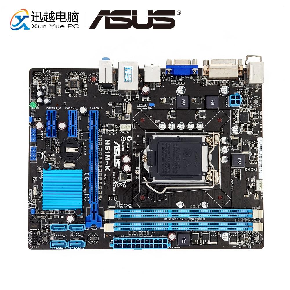 Asus H61M-K Desktop Moederbord H61 Socket LGA 1155 Voor Core i3 i5 i7 DDR3 16G SATA2 USB2.0 Micro ATX originele Gebruikt Moederbord