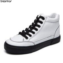 SWYIVY Chaussure Femme לבן נעלי אישה סתיו נשים סניקרס 2019 חדש גבירותיי נעל ספורט מוצקות נשים גבוהה למעלה Sneaker