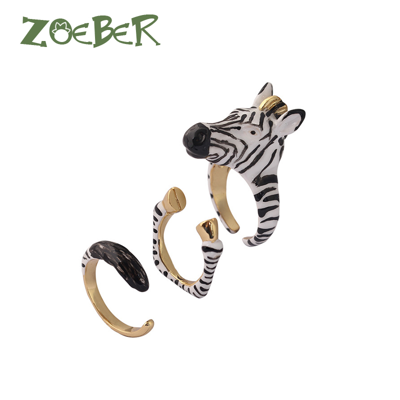 Zoeber 3D Enamel Glaze Open Adjustable Animal Zebra Rings Women animal zebra zoo Wedding/Party/Dance Jewelry Accessories RJ2121