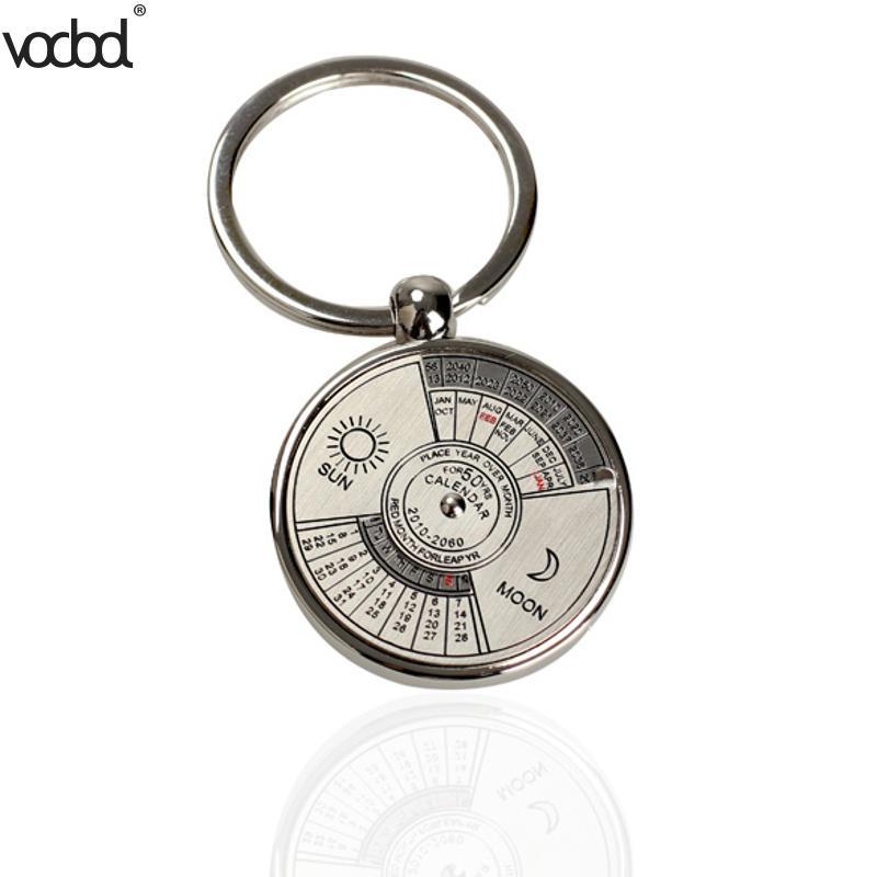 50 Years Mini Perpetual Calendar Keychain Clock Ring Unique Metal Keyring Calendar Metal Keychain Date And Week Clock