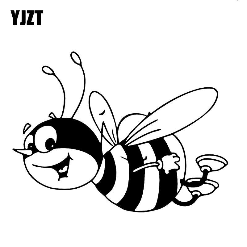 YJZT 15.3CM*11.4CM Bumble Bee Art Car Sticker Vinyl Decal Stickers Bumblebee Honey Black/Silver C19-0086