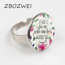 ZBOZWIE Romans 8 31 Bible Quote Ring If God is for Us who can be against us Verse Christian Nursery Jewelry Women Men Gifts Ring hot new romans 8 31 bible quote keychain if god is for us who can be against us verse christian nursery jewelry women men gifts
