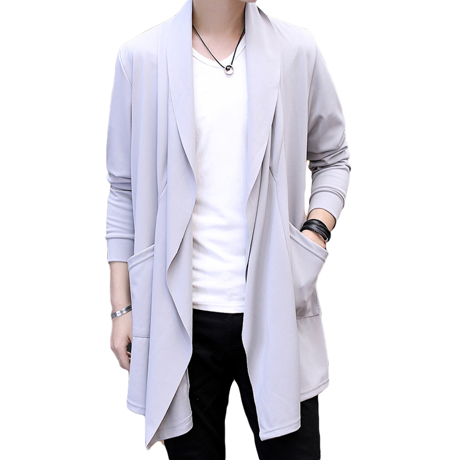 Stylish Summer Trench Coat Men Hood Long Slim Man Cloak Hooded Lale Korean Style Trenchcoat Thin Cardigan Mens Cape Coat 6F010