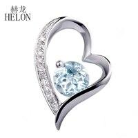 Fine Jewelry Naturalnych Diamentów HELON Wisiorek Prawdziwy Błękitny Topaz Okrągły 5mm Kamień Diamenty PendantSolid 10 K White Gold
