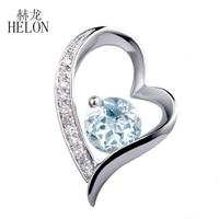 Helon Ювелирные украшения природных алмазов кулон из натуральной Голубой топаз Круглый 5 мм драгоценных камней алмазы pendantsolid 10 К белого золот