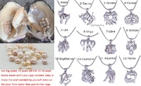 New Live Pearl Party Oyster 9pcs Pearl Cage Necklace Pendant 1pc Huge Pearl Oyster Monster DIY