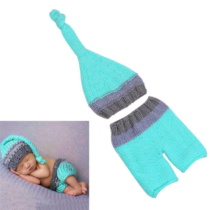 Newborn Baby Boys Girls Cute Crochet Knit Costume Prop Outfits Photo Photography 2pcs hat+pants W25