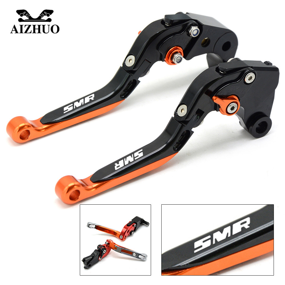 Motorcycle Brake Clutch Lever Moto Folding Extendable Brake Levers For KTM 990 SMR 990 SMT 950 SM 2009 2010 2012 2013 With LoGo for moto guzzi california custom touring classic audace eldorado mgx21 gold motorcycle aluminum 3d short brake clutch lever