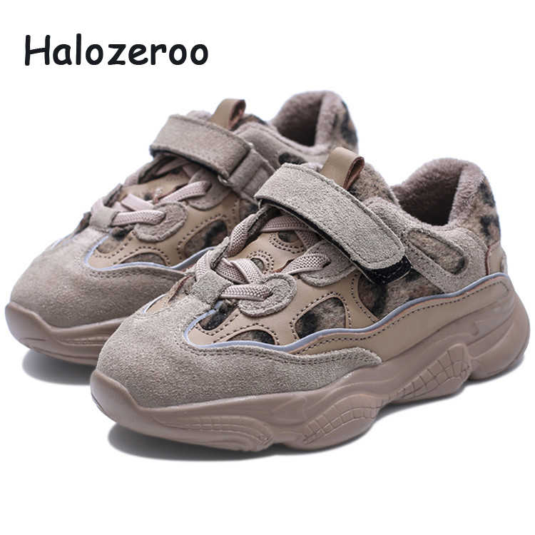 ed5f80492332 Winter Children Genuine Leather Sneakers Kid Warm Casual Shoes Baby Girl  Sport Sneakers Toddler Boy Leopard